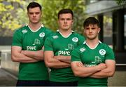 23 May 2016; From left, James Ryan, Jacob Stockdale and Bill Johnston of Ireland U20 during a press conference in PWC Head Office, Spencer Dock, Dublin. Photo by Sam Barnes/Sportsfile