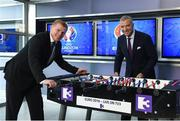 23 May 2016; Neil Lennon and Graeme Souness pictured at the Virgin Media TV3 HD Studio to announce TV3's Euro 2016 coverage plans. New additions to TV3's football coverage include Joey Barton, Keith Andrews, Gerry Armstrong and Lawrie Sanchez while Harry Redknapp and Kevin Kilbane will also be regular contributors throughout the tournament. TV3 will broadcast 22 live UEFA Euro 2016 matches this summer kicking off on Saturday 11th June with the pick of the opening weekend matches; England's tournament opener against Russia. Following this opening game on TV3, the broadcaster will air 20 other games exclusively live from UEFA Euro 2016 live on Free-To-Air television in Ireland, including matches from the last 16 and quarter finals. TV3 will also broadcast the final on 10th July in Paris. Virgin Media TV3 HD Studio, Ballymount, Dublin. 22 May 2016; Neil Lennon and Graeme Souness pictured at the Virgin Media TV3 HD Studio today to announce TV3's Euro 2016 coverage plans. New additions to TV3's football coverage include Joey Barton, Keith Andrews, Gerry Armstrong and Lawrie Sanchez while Harry Redknapp and Kevin Kilbane will also be regular contributors throughout the tournament. TV3 will broadcast 22 live UEFA Euro 2016 matches this summer kicking off on Saturday 11th June with the pick of the opening weekend matches; England's tournament opener against Russia. Following this opening game on TV3, the broadcaster will air 20 other games exclusively live from UEFA Euro 2016 live on Free-To-Air television in Ireland, including matches from the last 16 and quarter finals. TV3 will also broadcast the final on 10th July in Paris. Virgin Media TV3 HD Studio, Ballymount, Dublin. Photo by Ray McManus/Sportsfile