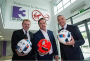23 May 2016; Neil Lennon , left, Pat Kiely, TV3 Group Managing Director, centre, and Graeme Souness pictured at the Virgin Media TV3 HD Studio to announce TV3's Euro 2016 coverage plans. New additions to TV3's football coverage include Joey Barton, Keith Andrews, Gerry Armstrong and Lawrie Sanchez while Harry Redknapp and Kevin Kilbane will also be regular contributors throughout the tournament. TV3 will broadcast 22 live UEFA Euro 2016 matches this summer kicking off on Saturday 11th June with the pick of the opening weekend matches; England's tournament opener against Russia. Following this opening game on TV3, the broadcaster will air 20 other games exclusively live from UEFA Euro 2016 live on Free-To-Air television in Ireland, including matches from the last 16 and quarter finals. TV3 will also broadcast the final on 10th July in Paris. Virgin Media TV3 HD Studio, Ballymount, Dublin. 22 May 2016; Neil Lennon and Graeme Souness pictured at the Virgin Media TV3 HD Studio today to announce TV3's Euro 2016 coverage plans. New additions to TV3's football coverage include Joey Barton, Keith Andrews, Gerry Armstrong and Lawrie Sanchez while Harry Redknapp and Kevin Kilbane will also be regular contributors throughout the tournament. TV3 will broadcast 22 live UEFA Euro 2016 matches this summer kicking off on Saturday 11th June with the pick of the opening weekend matches; England's tournament opener against Russia. Following this opening game on TV3, the broadcaster will air 20 other games exclusively live from UEFA Euro 2016 live on Free-To-Air television in Ireland, including matches from the last 16 and quarter finals. TV3 will also broadcast the final on 10th July in Paris. Virgin Media TV3 HD Studio, Ballymount, Dublin. Photo by Ray McManus/Sportsfile