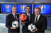 23 May 2016; TV3 host Tommy Martin, centre, with Neil Lennon and Graeme Souness pictured at the Virgin Media TV3 HD Studio to announce TV3's Euro 2016 coverage plans. New additions to TV3's football coverage include Joey Barton, Keith Andrews, Gerry Armstrong and Lawrie Sanchez while Harry Redknapp and Kevin Kilbane will also be regular contributors throughout the tournament. TV3 will broadcast 22 live UEFA Euro 2016 matches this summer kicking off on Saturday 11th June with the pick of the opening weekend matches; England's tournament opener against Russia. Following this opening game on TV3, the broadcaster will air 20 other games exclusively live from UEFA Euro 2016 live on Free-To-Air television in Ireland, including matches from the last 16 and quarter finals. TV3 will also broadcast the final on 10th July in Paris. Virgin Media TV3 HD Studio, Ballymount, Dublin. 22 May 2016; Neil Lennon and Graeme Souness pictured at the Virgin Media TV3 HD Studio today to announce TV3's Euro 2016 coverage plans. New additions to TV3's football coverage include Joey Barton, Keith Andrews, Gerry Armstrong and Lawrie Sanchez while Harry Redknapp and Kevin Kilbane will also be regular contributors throughout the tournament. TV3 will broadcast 22 live UEFA Euro 2016 matches this summer kicking off on Saturday 11th June with the pick of the opening weekend matches; England's tournament opener against Russia. Following this opening game on TV3, the broadcaster will air 20 other games exclusively live from UEFA Euro 2016 live on Free-To-Air television in Ireland, including matches from the last 16 and quarter finals. TV3 will also broadcast the final on 10th July in Paris. Virgin Media TV3 HD Studio, Ballymount, Dublin. Photo by Ray McManus/Sportsfile