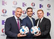 23 May 2016; Graeme Souness, left, host Tommy Martin and Neil Lennon pictured at the Virgin Media TV3 HD Studio to announce TV3's Euro 2016 coverage plans. New additions to TV3's football coverage include Joey Barton, Keith Andrews, Gerry Armstrong and Lawrie Sanchez while Harry Redknapp and Kevin Kilbane will also be regular contributors throughout the tournament. TV3 will broadcast 22 live UEFA Euro 2016 matches this summer kicking off on Saturday 11th June with the pick of the opening weekend matches; England's tournament opener against Russia. Following this opening game on TV3, the broadcaster will air 20 other games exclusively live from UEFA Euro 2016 live on Free-To-Air television in Ireland, including matches from the last 16 and quarter finals. TV3 will also broadcast the final on 10th July in Paris. Virgin Media TV3 HD Studio, Ballymount, Dublin. 22 May 2016; Neil Lennon and Graeme Souness pictured at the Virgin Media TV3 HD Studio today to announce TV3's Euro 2016 coverage plans. New additions to TV3's football coverage include Joey Barton, Keith Andrews, Gerry Armstrong and Lawrie Sanchez while Harry Redknapp and Kevin Kilbane will also be regular contributors throughout the tournament. TV3 will broadcast 22 live UEFA Euro 2016 matches this summer kicking off on Saturday 11th June with the pick of the opening weekend matches; England's tournament opener against Russia. Following this opening game on TV3, the broadcaster will air 20 other games exclusively live from UEFA Euro 2016 live on Free-To-Air television in Ireland, including matches from the last 16 and quarter finals. TV3 will also broadcast the final on 10th July in Paris. Virgin Media TV3 HD Studio, Ballymount, Dublin. Photo by Ray McManus/Sportsfile