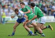 27 June 2010; Tommy Freeman, Monaghan, in action against James Sherry, Niall Bogue and Daniel Ward, Fermanagh. Ulster GAA Football Senior Championship Semi-Final, Fermanagh v Monaghan, Kingspan Breffni Park, Cavan. Picture credit: Oliver McVeigh / SPORTSFILE