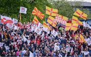 20 May 2016; Ulster supporters wave flags during the Guinness PRO12 Play-off match between Leinster and Ulster at the RDS Arena in Dublin. Photo by Seb Daly/Sportsfile