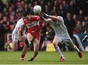 22 May 2016; Danny Heavron of Derry in action against Darren McCurry and Cathal McShane of Tyrone during the Ulster GAA Football Senior Championship, Quarter-Final, at Celtic Park, Derry. Photo by Oliver McVeigh/Sportsfile