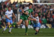 21 May 2016; AJ MacGinty of Connacht is tackled by Simone Favaro of Glasgow Warriors during the Guinness PRO12 Play-off match between Connacht and Glasgow Warriors at the Sportsground in Galway. Photo by Stephen McCarthy/Sportsfile