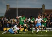 21 May 2016; Niyi Adeolokun of Connacht escapes the tackle of Stuart Hogg of Glasgow Warriors on his way to scoring his side's first try during the Guinness PRO12 Play-off match between Connacht and Glasgow Warriors at the Sportsground in Galway. Photo by Stephen McCarthy/Sportsfile