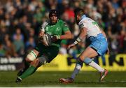 21 May 2016; John Muldoon of Connacht is tackled by Sean Lamont of Glasgow Warriors during the Guinness PRO12 Play-off match between Connacht and Glasgow Warriors at the Sportsground in Galway. Photo by Stephen McCarthy/Sportsfile