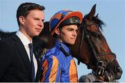3 June 2016; Trainer Joseph O'Brien, left, with jockey Donnacha O'Brien and Order Of St George pose for a photo after winning the Seamus & Rosemary McGrath Memorial Saval Beg Stakes during the British Irish Chamber of Commerce Raceday in Leopardstown, Co. Dublin. Photo by Seb Daly/Sportsfile