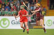 3 July 2010; Sile Burns, Cork, in action against Sarah Dervan, Galway. Gala All-Ireland Senior Championship, Galway v Cork, Kenny Park, Athenry, Co. Galway. Picture credit: Diarmuid Greene / SPORTSFILE