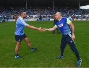 4 June 2016; Anthony Cunningham, a member of the Laois backroom team, shakes hands with James McCarthy of Dublin following the Leinster GAA Football Senior Championship Quarter-Final match between Laois and Dublin in Nowlan Park, Kilkenny. Photo by Stephen McCarthy/Sportsfile