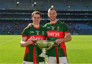 4 June 2016; Brian Hunt, left, and Keith Higgins of Mayo celebrate with the cup after the Nicky Rackard Cup Final between Armagh and Mayo in Croke Park, Dublin. Photo by Piaras Ó Mídheach/Sportsfile