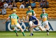 5 June 2016; Cahir Healy of Laois in action against Paddy Murphy of Offaly in the Leinster GAA Hurling Senior Championship Quarter-Final between Offaly and Laois in O'Connor Park, Tullamore, Co. Offaly. Photo by Sam Barnes/Sportsfile