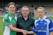 3 July 2010; Referee Michael O'Keeffe with Sandra Larkin, Limerick, and Mary Foley, Waterford. TG4 Ladies Football Munster Intermediate Championship Final, Waterford v Limerick, Castletownroche GAA Grounds, Castletownroche, Co. Cork. Picture credit: Matt Browne / SPORTSFILE