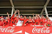 4 July 2010; Moy Davitts, Mayo, players celebrate after beating Stradbally, Laois, in the Division 2 Boys Final. Coca-Cola GAA Féile Peil na nÓg Finals 2010, Celtic Park, Derry. Picture credit: Paul Mohan / SPORTSFILE