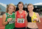 4 July 2010; Winner of the U18 Girls's 300m Hurdles Louise Harvey, Tir Chonaill, centre, with second place Christine Neville, Blarney/Inniscara, left, and third place Laura Langton, Kilkenny City Harriers, during the Woodie's DIY AAI Juvenile Track & Field Championships. Tullamore Harriers Stadium, Tullamore, Co. Offaly. Picture credit: Brian Lawless / SPORTSFILE