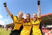 4 July 2010; Tinryland Bennekerry, Carlow, players Grace Lawler, left, Roisin Byrne and Sarah Farrell, right, celebrate after beating New York in the Division 4 Girls Final. Coca-Cola GAA Féile Peil na nÓg Finals 2010, Celtic Park, Derry. Picture credit: Paul Mohan / SPORTSFILE