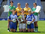 5 July 2010; 2010 marks the 10 year milestone of TG4's sponsorship of the Ladies Football All Ireland Championships and the tenth year of the Ladies Football finals being televised by the national Irish language broadcaster. TG4 who became the title sponsors of the Ladies Football Championships in 2000 will broadcast 15 live championship games over the course of the summer. At the launch of the 2010 TG4 Ladies Football Championships at Croke Park are Intermediate players, back row, from left, Aoife McDonald, Fermanagh, Emer Casey, Roscommon, Caroline Kelly, Antrim, and Aine McBrien, Fermanagh, with, front row, from left, Michelle Ross, Longford, Layrena Murphy, Kilkenny, and Mary Foley, Waterford. Croke Park, Dublin. Picture credit: Brendan Moran / SPORTSFILE