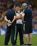 5 June 2016; Clare manager Davy Fitzgerald with selectors Louis Mulqueen, left, and Donal Og Cusack, right, during the Munster GAA Hurling Senior Championship Semi-Final match between Waterford and Clare at Semple Stadium in Thurles, Co. Tipperary. Photo by Stephen McCarthy/Sportsfile