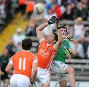 11 July 2010; Vincent Martin, Armagh, in action against Seamus Quigley, Fermanagh. GAA Football All-Ireland Senior Championship Qualifier Round 2, Fermanagh v Armagh, Brewster Park, Enniskillen, Co. Fermanagh. Picture credit: Oliver McVeigh / SPORTSFILE