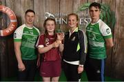 11 June 2016; 3rd place in the U14 Féile na nGael, Maeve Muldoon from Killimor GAA Club, Co. Galway, being presented her winners trophy by John West ambassadors, Philly McMahon, left, and Danny Sutcliffe and Edwina Keane, Kilkenny camogie player, at the John West Féile National Skills Star Challenge 2016, in the National Games Development Centre, Abbotstown, Dublin. Photo by Paul Mohan/Sportsfile