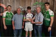 11 June 2016; Conor and Shane Aherne presenting Sam Madden from Co. Tipperary with the U14 Féile na nGael 2nd place trophy, alongside John West ambassadors, Philly McMahon, left, and Danny Sutcliffe, at the John West Féile National Skills Star Challenge 2016, in the National Games Development Centre, Abbotstown, Dublin. Photo by Paul Mohan/Sportsfile