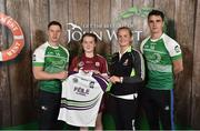 11 June 2016; U14 Féile na nGael participant Maeve Muldoon from Killimor GAA Club, Co. Galway, being presented with a commemorative jersey by John West ambassadors, Philly McMahon, left, and Danny Sutcliffe and Edwina Keane, Kilkenny camogie player, at the John West Féile National Skills Star Challenge 2016, at the  in the National Games Development Centre, Abbotstown, Dublin. Photo by Paul Mohan/Sportsfile