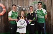11 June 2016; U14 Féile na nGael participant Therese Donnelly from Thomastown GAA Club, Co. Kilkenny, being presented with a commemorative jersey by John West ambassadors, Philly McMahon, left, and Danny Sutcliffe and Edwina Keane, Kilkenny camogie player, at the John West Féile National Skills Star Challenge 2016, at the  in the National Games Development Centre, Abbotstown, Dublin. Photo by Paul Mohan/Sportsfile
