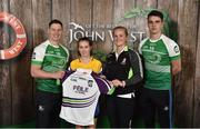 11 June 2016; U14 Féile na nGael participant Oonagh Kelly from Four Roads GAA Club, Co. Roscommon, being presented with a commemorative jersey by John West ambassadors, Philly McMahon, left, and Danny Sutcliffe and Edwina Keane, Kilkenny camogie player, at the John West Féile National Skills Star Challenge 2016, at the  in the National Games Development Centre, Abbotstown, Dublin. Photo by Paul Mohan/Sportsfile