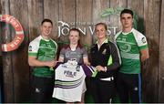 11 June 2016; U14 Féile na nGael participant Amelia Shaw from Raharney GAA Club, Co. Westmeath, being presented with a commemorative jersey by John West ambassadors, Philly McMahon, left, and Danny Sutcliffe and Edwina Keane, Kilkenny camogie player, at the John West Féile National Skills Star Challenge 2016, at the  in the National Games Development Centre, Abbotstown, Dublin. Photo by Paul Mohan/Sportsfile