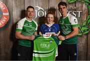 11 June 2016; U14 Féile Peil na nÓg participant Siobhan McSweeney from Knocknagree GAA Club, Co. Cork, being presented with a commemorative jersey by John West ambassadors, Philly McMahon, left, and Danny Sutcliffe, at the John West Féile National Skills Star Challenge 2016, in the National Games Development Centre, Abbotstown, Dublin. Photo by Paul Mohan/Sportsfile