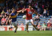 12 June 2016; Conor Dorman of Cork in action against Robbie Kiely of Tipperary during the Munster GAA Football Senior Championship Semi-Final match between Tipperary and Cork at Semple Stadium in Thurles, Co Tipperary. Photo by Piaras Ó Mídheach/Sportsfile