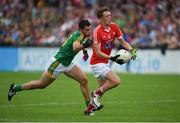 12 June 2016; Ryan Burns of Louth in action against Donal Keogan of Meath during their Leinster GAA Football Senior Championship Quarter-Final match between Meath and Louth at Parnell Park in Dublin. Photo by Paul Mohan/Sportsfile