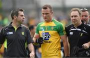 12 June 2016; Donegal manager Rory Gallagher taking off Neil McGee after getting a red card. Ulster GAA Football Senior Championship Quarter-Final match between Donegal and Fermanagh  at MacCumhaill Park in Ballybofey, Co. Donegal. Photo by Philip Fitzpatrick/Sportsfile