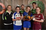 11 June 2016; U14 Féile na nGael winner Eimear Heffernan from Kickhams GAA Club, Co. Tipperary, 2nd place Aoife Fitzgerald , left, from Gailltir GAA Club, Co. Waterford, and 3rd place Maeve Muldoon, right, from Killimor GAA Club, Co. Galway, being presented their winners trophies by John West ambassadors, Philly McMahon, left, and Danny Sutcliffe and Edwina Keane, Kilkenny camogie player, at the John West Féile National Skills Star Challenge 2016, in the National Games Development Centre, Abbotstown, Dublin. Photo by Paul Mohan/Sportsfile