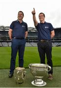 14 June 2016; All-Ireland winning stars Michael Duignan, left, of Offaly and Brian McGuigan of Tyrone were at GAA Headquarters today for the launch of this year's Bord Gáis Energy Legends Tour Series. The duo are among an array of GAA greats who will host tours of Croke Park as part of the 2016 Legends Tour series, an event that offers GAA fans a unique chance to experience the stadium from a player's perspective. For more information about this summers' GAA Legend tours, log on to www.bgeu21.ie. Croke Park, Dublin. Photo by Matt Browne/Sportsfile