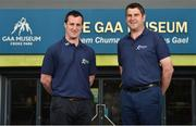 14 June 2016; All-Ireland winning stars Michael Duignan, right, of Offaly and Brian McGuigan of Tyrone were at GAA Headquarters today for the launch of this year's Bord Gáis Energy Legends Tour Series. The duo are among an array of GAA greats who will host tours of Croke Park as part of the 2016 Legends Tour series, an event that offers GAA fans a unique chance to experience the stadium from a player's perspective. For more information about this summers' GAA Legend tours, log on to www.bgeu21.ie. Croke Park, Dublin. Photo by Matt Browne/Sportsfile