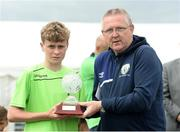 17 June 2016; Liam Corcoran of Galway is presented with the Man of the Match award by DDSL chairman Paddy Dempsey after defeat to DDSL in the SFAI Kennedy Cup Final at University of Limerick in Limerick. Photo by Diarmuid Greene/Sportsfile