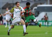 22 July 2010; Alonso Ferrira de Matos, CS Marítimo, in action against Conan Byrne, Sporting Fingal. UEFA Europa League Second Qualifying Round, 2nd Leg, Sporting Fingal v CS Marítimo, Dalymount Park, Dublin. Picture credit: Matt Browne / SPORTSFILE