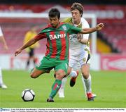 22 July 2010; Roberto Sousa Rezende, CS Marítimo, in action against Shane McFaul, Sporting Fingal. UEFA Europa League Second Qualifying Round, 2nd Leg, Sporting Fingal v CS Marítimo, Dalymount Park, Dublin. Picture credit: Matt Browne / SPORTSFILE