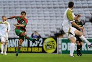 22 July 2010; Marco Aurelio Iubel, CS Marítimo, shoots to score his side's second goal. UEFA Europa League Second Qualifying Round, 2nd Leg, Sporting Fingal v CS Marítimo, Dalymount Park, Dublin. Picture credit: Barry Cregg / SPORTSFILE