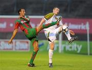 22 July 2010; Kenny Browne, Sporting Fingal, in action against Abdelmalek Cherrad, CS Marítimo. UEFA Europa League Second Qualifying Round, 2nd Leg, Sporting Fingal v CS Marítimo, Dalymount Park, Dublin. Picture credit: Matt Browne / SPORTSFILE