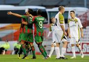 22 July 2010; Marco Aurelio Iubel, centre, CS Marítimo, celebrates with his team-mates Papa Babacar Diawara, 9,  and Danilo Leandro Dias after scoring his side's second goal. UEFA Europa League Second Qualifying Round, 2nd Leg, Sporting Fingal v CS Marítimo, Dalymount Park, Dublin. Picture credit: Barry Cregg / SPORTSFILE