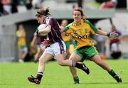 24 July 2010; Maria Connell, Galway, in action against Ciara Grant, Donegal. Ladies Gaelic Football Minor A Championship All-Ireland Final, Donegal v Galway, Seán O'Heslin GAA Cub, Ballinamore, Co. Leitrim. Picture credit: Brian Lawless / SPORTSFILE