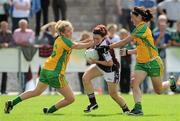 24 July 2010; Charlotte Cooney, Galway, in action against Kate Keaney, left, and Tanya Kennedy, Donegal. Ladies Gaelic Football Minor A Championship All-Ireland Final, Donegal v Galway, Seán O'Heslin GAA Cub, Ballinamore, Co. Leitrim. Picture credit: Brian Lawless / SPORTSFILE