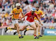 25 July 2010; Kieran Murphy, Cork, in action against Johnny Campbell and Ciaran Herron, Antrim. GAA Hurling All-Ireland Senior Championship Quarter-Final, Cork v Antrim, Croke Park, Dublin. Picture credit: Oliver McVeigh / SPORTSFILE