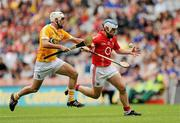 25 July 2010; Kieran Murphy, Cork, in action against Johnny Campbell, Antrim. GAA Hurling All-Ireland Senior Championship Quarter-Final, Cork v Antrim, Croke Park, Dublin. Picture credit: Oliver McVeigh / SPORTSFILE