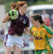 24 July 2010; Sarah Lynch, Galway, in action against Geraldine McLaughlin, Donegal. Ladies Gaelic Football Minor A Championship All-Ireland Final, Donegal v Galway, Seán O'Heslin GAA Cub, Ballinamore, Co. Leitrim. Picture credit: Brian Lawless / SPORTSFILE