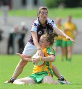 24 July 2010; Niamh McLaughlin, Donegal, in action against Michelle Burke, Galway. Ladies Gaelic Football Minor A Championship All-Ireland Final, Donegal v Galway, Seán O'Heslin GAA Cub, Ballinamore, Co. Leitrim. Picture credit: Brian Lawless / SPORTSFILE