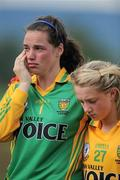 24 July 2010; Donegal players Niamh Mailey, left, and Maria Carr, after defeat in the final. Ladies Gaelic Football Minor A Championship All-Ireland Final, Donegal v Galway, Seán O'Heslin GAA Cub, Ballinamore, Co. Leitrim. Picture credit: Brian Lawless / SPORTSFILE