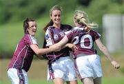 24 July 2010; Galway players, from left, Eilis Gannon, Tessa Mullins, and Aisling Donnelly, celebrate after the final whistle. Ladies Gaelic Football Minor A Championship All-Ireland Final, Donegal v Galway, Seán O'Heslin GAA Cub, Ballinamore, Co. Leitrim. Picture credit: Brian Lawless / SPORTSFILE